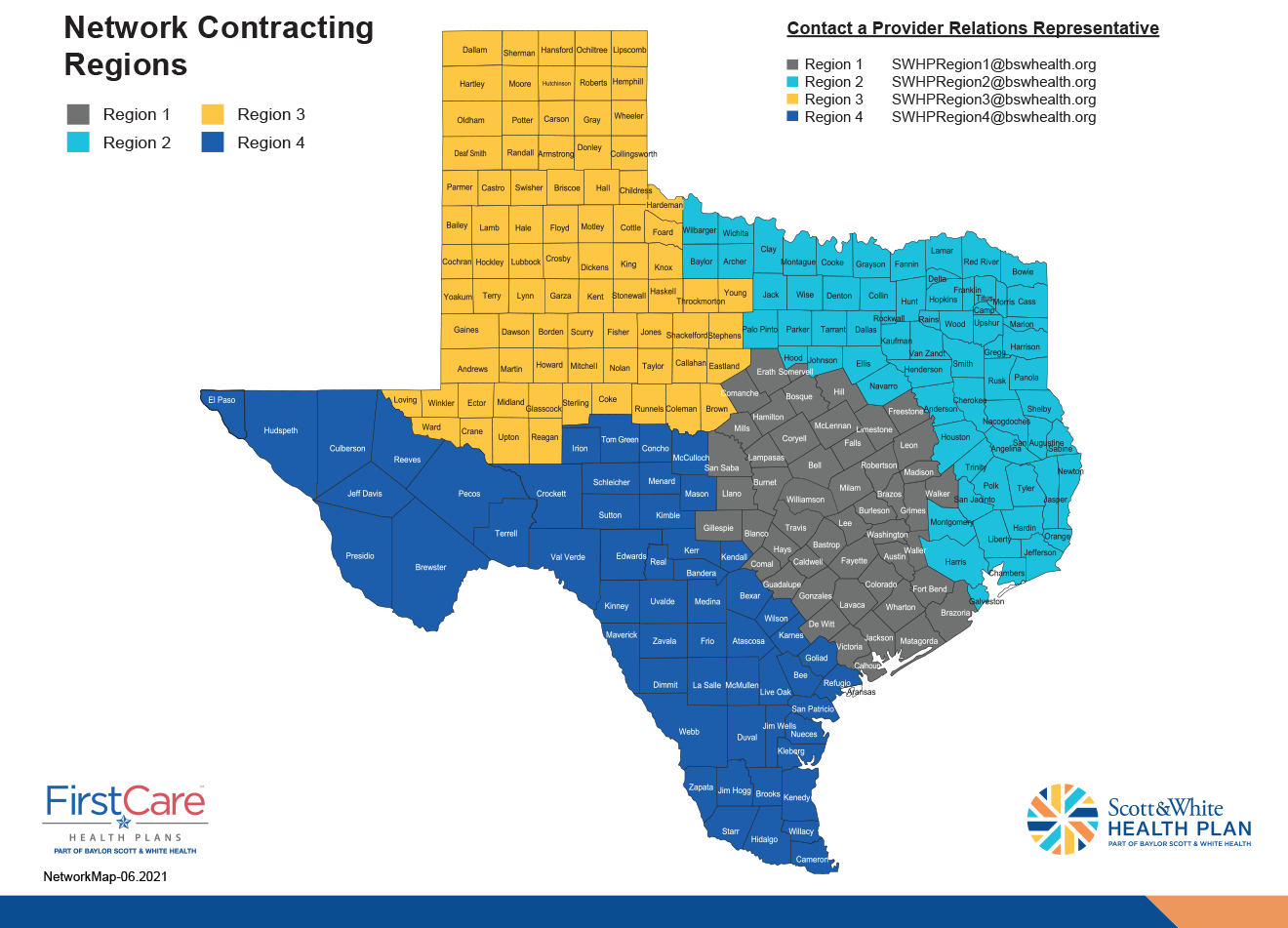 SWHP Provider Relations Representative Territory Map